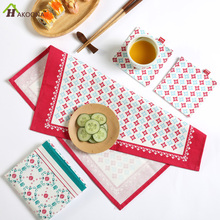 HAKOONA Thicken Red Blue Green Floral Printed Table Napkins Mats Dinner Pads  Kitchen Tea Towels 35*38cm