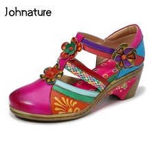 Women Shoes Sandals Flower Retro Genuine-Leather Casual Summer Hand-Painted Sewing Johnature