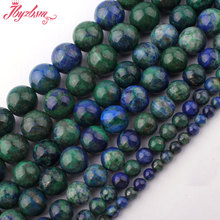"Round Malachite Lapis Lazuli Beads Smooth Gem Stone Beads Strand 15"" For DIY Necklace Jewelry Making,Wholesale Free Shipping(China)"