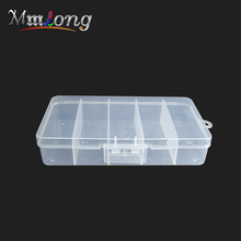 19*10*3.5cm Fishing Tackle Box for lures Fish Accessaries etc. 5 Compartments Storage Case Portable Clear Plastic Fishing Boxes(China)
