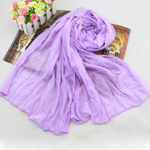 1Pcs Women Candy Color Solid Long Soft Silk Chiffon Cotton Scarf Wrap Shawl Pashmina Spring Fall Monochrome Fold Scarves