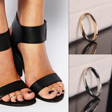 2pcs/lot Fashion Design Simple Round Circle Adjustable Toe Rings For Women Ring Set Gold Silver Metal Foot Jewelry Beach