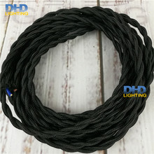 2*0.75mm Vintage Twisted Electrical Wire black Textile Cable Edison Vintage Lamp Cord Braided Retro Pendant Light Lamp Wire(China)