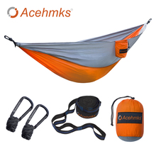 Acehmks Hammock Portable Folding Ultralight Parachute Nylon Camping Hammock Garden Swing Multi Color With 2 Tree Straps Single(China)