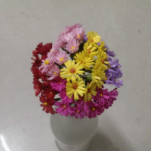 2014 NEW 1cm (120pcs/lot) mix colour mini Mulberry Paper Flower Bouquet/wire stem/ Scrapbooking artificial flowers ZH20414081401