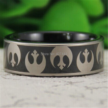 Free Shipping YGK JEWELRY Hot Sales 8MM Black Pipe Star Wars Rebel Alliance Men's Comfort Tungsten Wedding Ring(China)