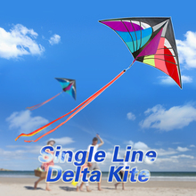 160 x 90cm / 63 x 35.5in Large Delta Kite Outdoor Sport Single Line Flying Kite with 30m Handle Line and Tail Beach Kite Toy(China)