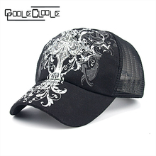 New Summer Unixe Outdoor Shading Cap Flower Pattern Rhinestone Pierced Mesh jewel Baseball Cap Female Sports Breathable Mesh hat