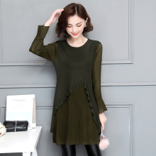 Buy 5XL New Autumn Chiffon Ruffles Knitted Dress Women Patchwork Green Dresses Female Pleated Clothes Plus Size Vestidos BH319E for $18.47 in AliExpress store