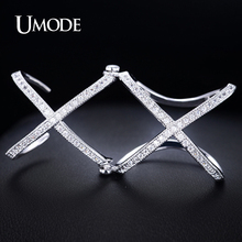 Umode Latest Issued Full Finger Ring for Women White Gold Color Double X Combined Knuckle Ring Adjustable with CZ Stone UR0064B