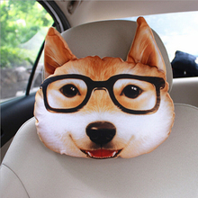 30*25cm Creative 3D Animal Cat Dog Emoji Car Seat Neck Rest Cushion Headrest Pillow With Carbon Bag Living Room Sofa Nap Pillow(China)