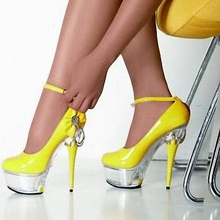Manufacturers selling 15 new spring hate day 15 cm high heels with waterproof single ultra fine leather shoes simulation(China)