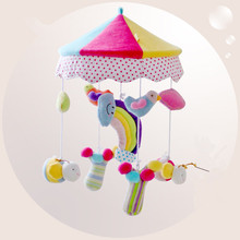 Baby Crib Musical Mobile Rotating Music Box Plush Doll rainbow  Baby Newborn Gift Present with 35 Songs and Bracket