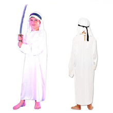 2017 Cute Kids Boys White Arab Cosplay Costume For Children Performance Clothing Set Halloween Fancy Dress Party Supplies