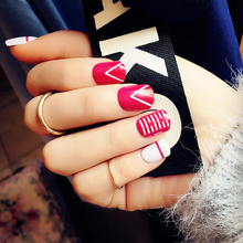 Yunail 24 pcs Irregular Pattern Fake Nails Short Ova Red Solid Nail Tips with Design in box for Christmas Decor Nail Art