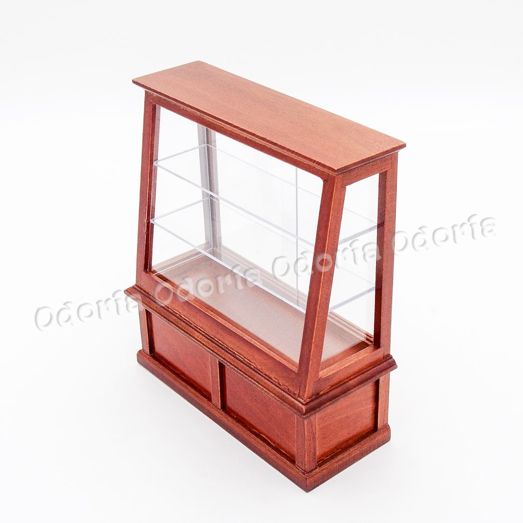 Odoria 1:12 Miniature Brown Wooden Bakery Cake Food Display Cabinet Dollhouse Furniture Accessories(China)