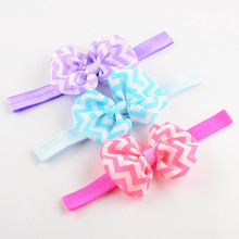 free shipping 20pcs/lot  chiffon bowknot print chiffon hair bows headband Zebra bow headbands hair bow bands