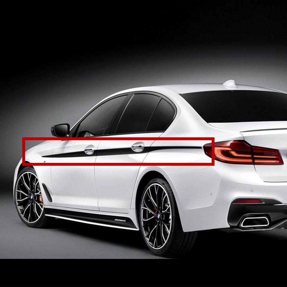 2pcs M Performance Side Door Stripes Decals Vinyl Sticker Waistline Racing Stickers for BMW 5 Series G30 2017 <br>