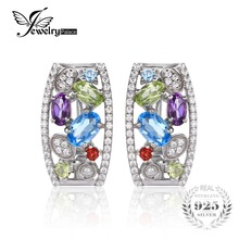 JewelryPalace luxury 3.3ct Multicolor Natural Amethyst Garnet Peridot Topaz Clip Earrings 925 Sterling Silver Jewelry