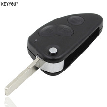 KEYYOU REPLACEMENT 3 BUTTON REMOT FLIP KEY CASE FOB FOR ALFA ROMEO 147 156 166 GT
