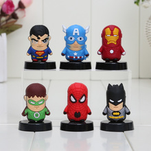 6pcs/set SuperHero The Avengers Spider man Iron Man Batman Captain America Green Lantern PVC Figure Toys