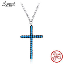 Dorado Classic Style Cross Inlaid Full Blue Bead Pendant Jewelry & 100% 925 Sterling Silver Choker Necklace for Women