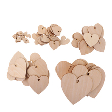 50 Pcs Wood Cutout Shapes Unfinished Heart Slice with Hole 20/40/60/80mm for Craft Wedding Party Favor Gift Tags Home Decor Acce