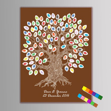 1set Large Personalised Wedding Fingerprint/Thumbprint Tree Painting Alternative Guest Book Signature Canvas Painting 2 ink pad