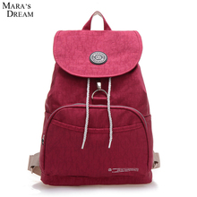 Mara's Dream 2017 Backpack Women Solid Color Waterproof Nylon Metal Zipper School Bags For Teenager Girls Rucksack Mochila