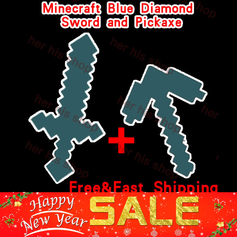 Free Shipping 2Pcs/set Minecraft Blue Diamond Sword and Pickaxe EVA Foam Weapons Weapons Model Toys for Kids Gifts Christmas<br><br>Aliexpress