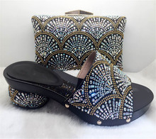 TYS17-35 Black Latest Design African Woman Pumps And Bag Set Wonderful Crystal Sandals Shoes Matching Bag On Sale