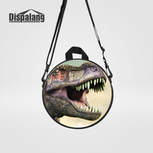 Dispalang Girls School Bag Cute Animal Dinosaur Print Round Women Backpack Mini Children Bookbag Kids Kindergarten Shoulder Bag(China)