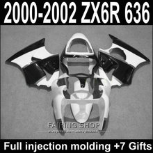 Black white Fairings For Kawasaki ZX6R 2000 2002 2001 / zx-6r 00 01 02 Best quality Abs for Fairing kit S22