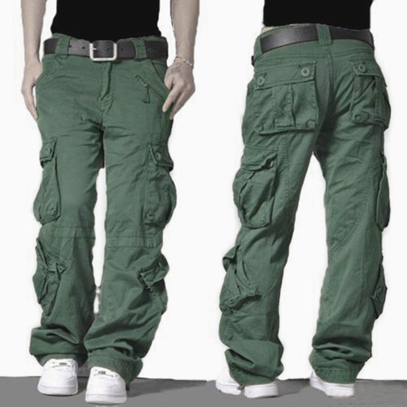 2018 Cargo Pants Mens Army Military Style Tactical Combat Pants High Quality Cotton Trousers Outdoors Casual Baggy Pants Men