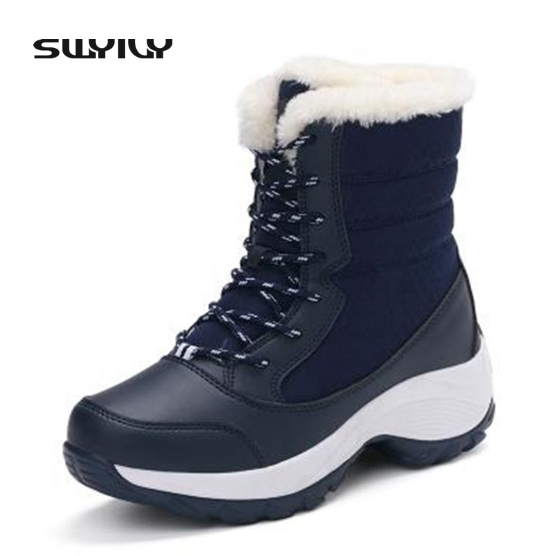 Plus Size 35-41 Women Waterproof Snow Boots Thick Sole with Platform Ankle Boots For Women Rubber Sole Fur Cotton Female Shoes <br>