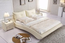 beige modern genuine leather soft bed contemporary bedroom furniture China functional
