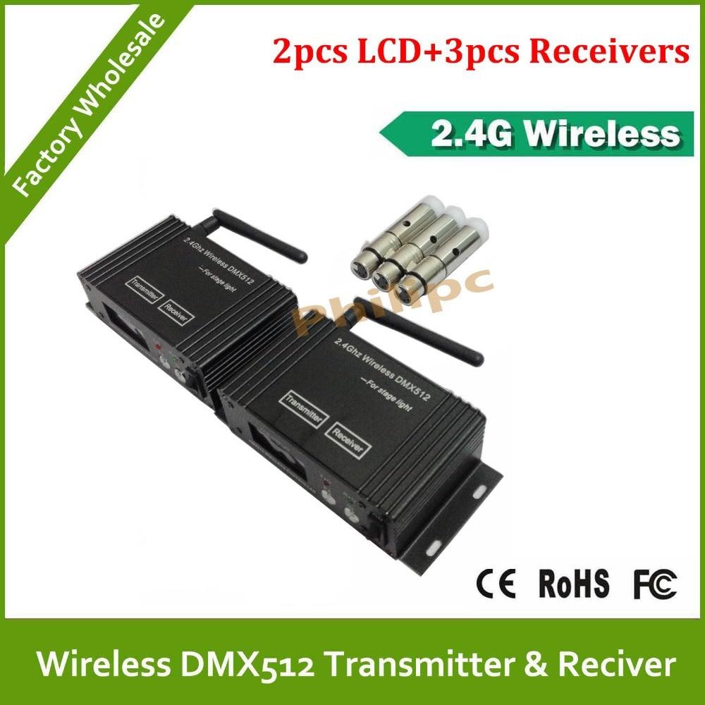 DHL Fast Free Shipping Wireless DMX Transceiver 2 PCS Transmitter &amp; 3 PCS Receiver<br>