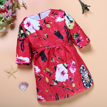 DOZ230 Free shipping top quality girl's dress flower personality children clothes baby girl's dresses retail and wholesale