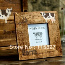 Min order$20(mixed items)Milk farm Photo frame 7.5*7.5cm  wooden pic frame nature looking house decoration