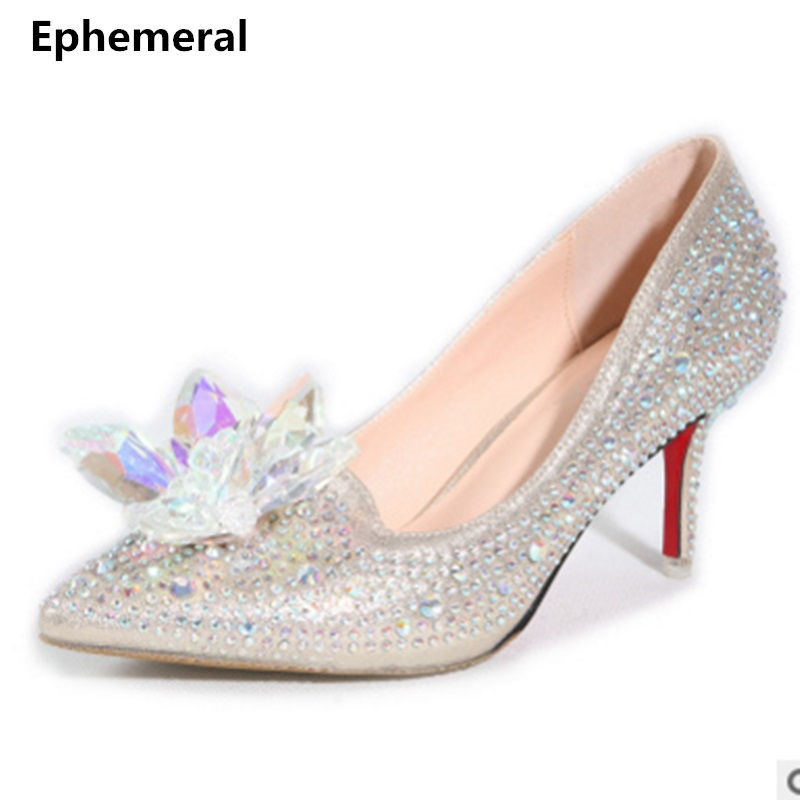 Luxury crystal wedding shoes pointed toe high heels sexy party pumps stiletto vintage white flowers big size 43-34 transparent<br>