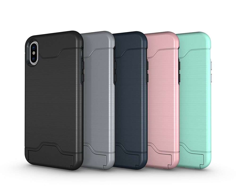 KEYSION Case For iphone X Shockproof cover for iPhone X Kickstand Armor Phone Bag Cases For iphone 10 Card Holder Coque 2