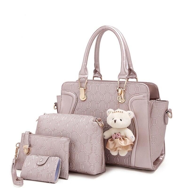 Brands Women messenger bags Women handbags Ladies Tote bags Crossbody Bag Wallet Purse 4PCS/ Set handbag Bolsas <br>