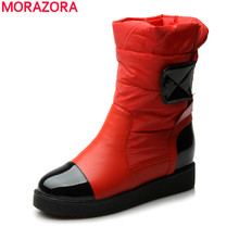 MORAZORA 2017 New fashion snow boots woman down warm ankle boots women winter thick fur inside platform cotton shoes
