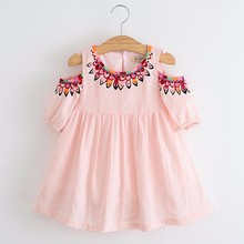 2017 Spring Summer Girls Princess Dress Shoulder Hole Cut Print Kids Dress Strapless Half Sleeve Children's Clothing(China)