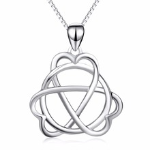 18 inches 925 Sterling Silver Love Heart Celtic Trinity Knot Round Pendant Necklace Hollow Jewelry Gift For Women