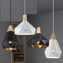 Loft Style Iron Wood Diamonds Droplight Modern Industrial Wind Pendant Light Fixtures Dining Room LED Hanging Lamp Lighting