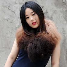 Free Shipping CX-A-62A Tip Dyed Women Detachable Mongolian Fur Collar ~Wholesale/OEM/Retail