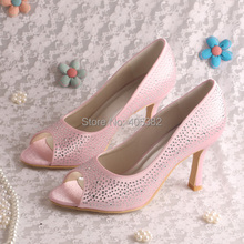 Wedopus MW910 Peep Toe Pink High Heel Shoes Wedding Pumps Crystal for Women Party 9CM