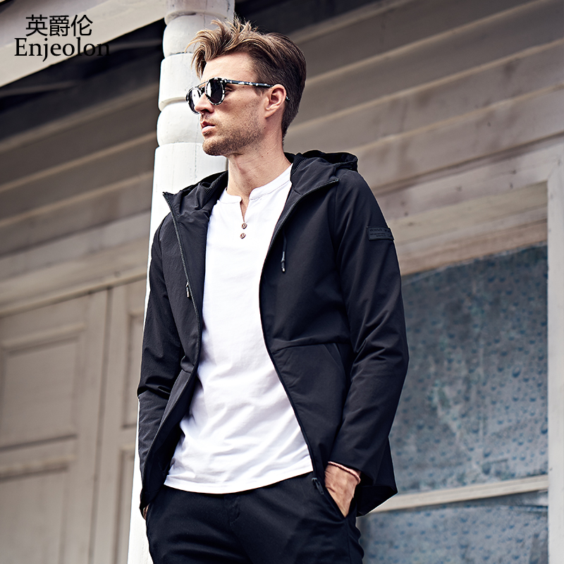Enjeolon brand Bomber casual hooded jackets men black windbreaker coats plus size 3XL,hooded collar tactical clothes JK0325