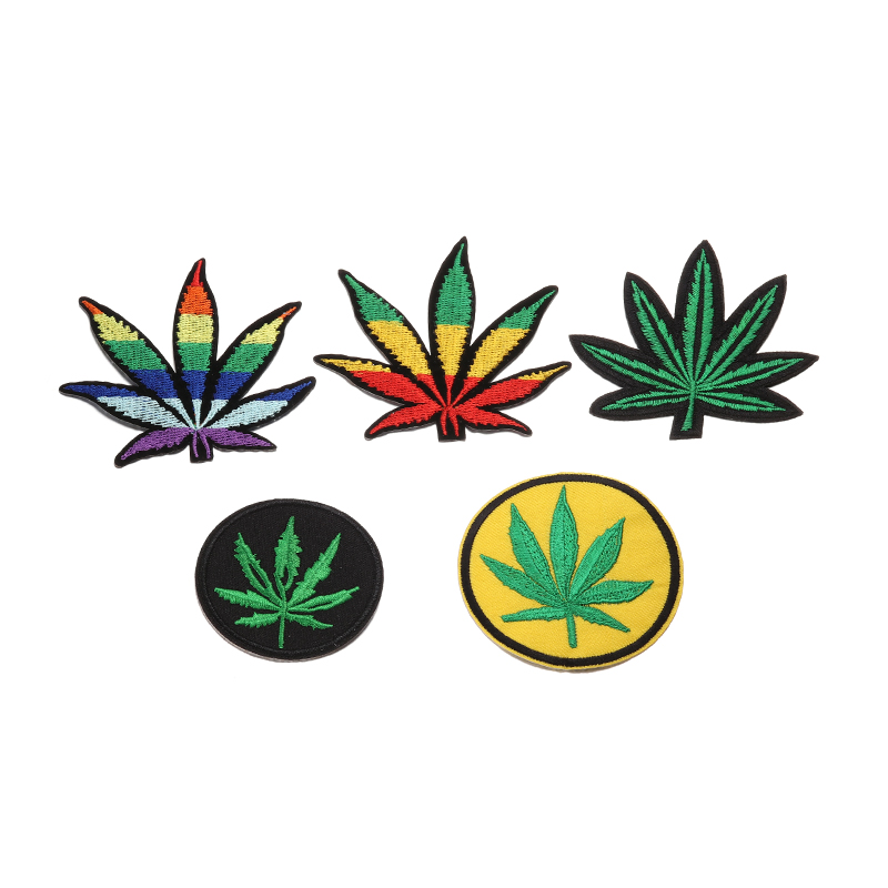 high Colourful coconut tree leaf patch Hot melt adhesive clothing patches stripes applique embroidery blossom DIY access